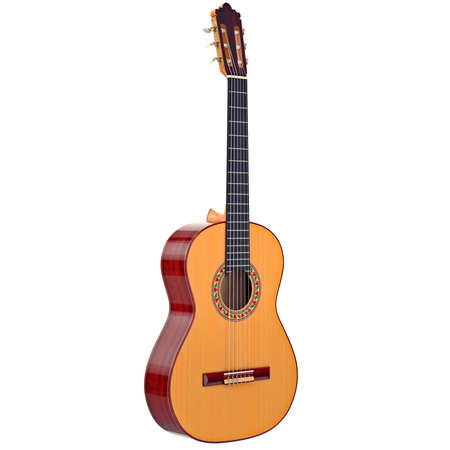 Classic acoustic guitar wooden with pattern. 3D graphic