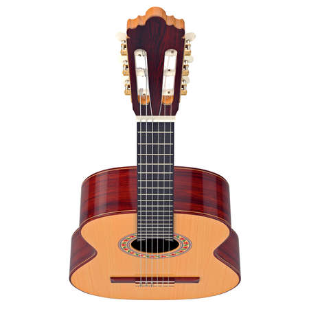 fingerboard: Fingerboard classical guitar with tuning-pegs, top view. 3D graphic Stock Photo