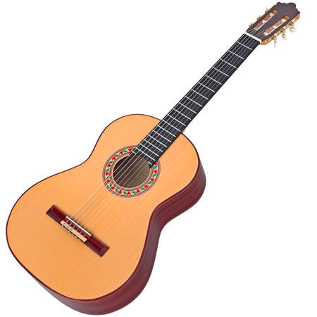 spanish guitar: Classical Spanish guitar wooden with nylon strings. 3D graphic Stock Photo