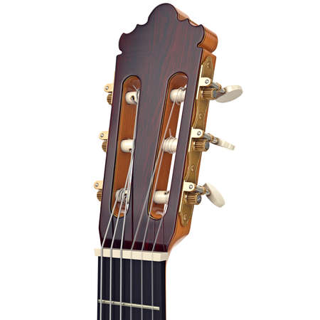 fingerboard: Brown wooden guitar headstock fingerboard with gilded tuning-pegs, close view. 3D graphic Stock Photo
