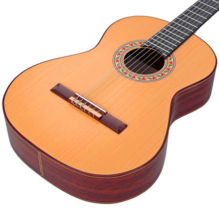 zoomed: Brown body spanish acoustic guitar, zoomed view. 3D graphic Stock Photo