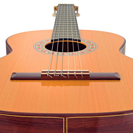 single songs: Bridge spanish acoustic wooden guitar, close view. 3D graphic