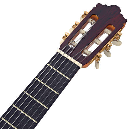 fingerboard: Headstock wooden guitar fingerboard with tuning-pegs, close view. 3D graphic