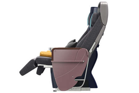 passenger aircraft: Passenger aircraft seats with leather armrests, side view. 3D graphic