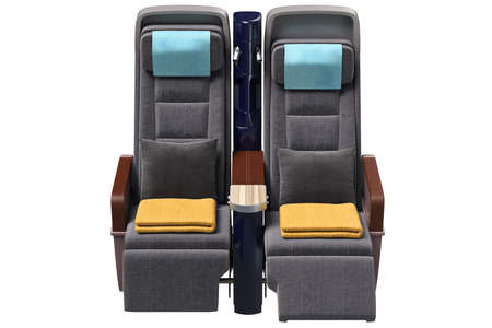headrest: Aircraft chairs comfortable with leather armrests, front view. 3D graphic Stock Photo