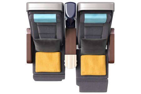 passenger aircraft: Passenger aircraft chairs with yellow towels, top view. 3D graphic Stock Photo