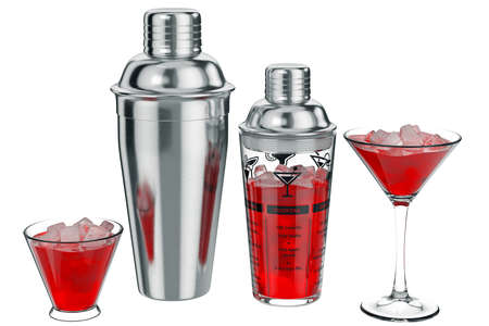 bar tool set: Cocktail shaker metal with ice inside. 3D graphic