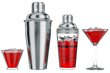 Cocktail shaker metal with glass cup, front view. 3D graphic