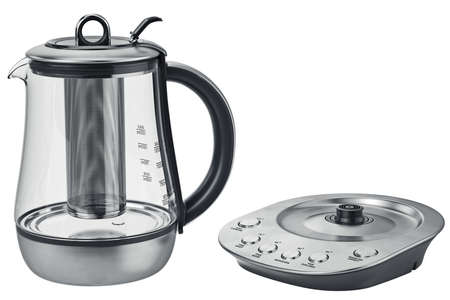electric tea kettle: Electric metal kettle with aluminum stand. 3D graphic Stock Photo