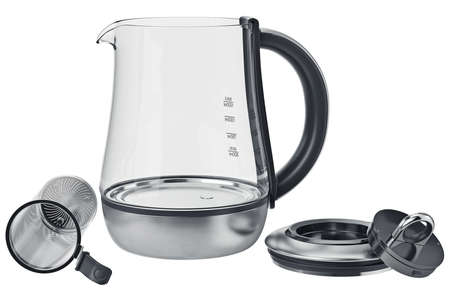 electric tea kettle: Electric kettle with modern plastic cover, open view. 3D graphic