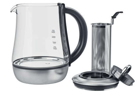 electric tea kettle: Electric kettle kitchen equipment flat packed, open view. 3D graphic Stock Photo