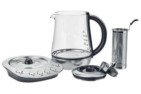 Bouilloire électrique fixé équipement de cuisine métallique, vue dégagée. graphique 3D