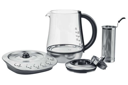 electric tea kettle: Electric kettle set metallic kitchen equipment, open view. 3D graphic