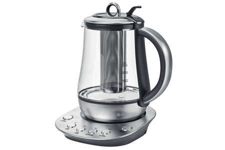 electric tea kettle: Electric kettle aluminum with glass on stand. 3D graphic