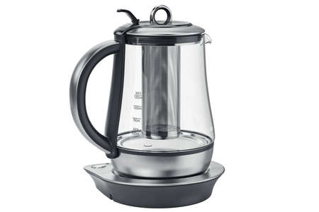 household equipment: Electric kettle with chrome elements household equipment. 3D graphic