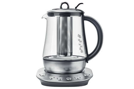 electric tea kettle: Electric kettle on aluminum stand, front view. 3D graphic