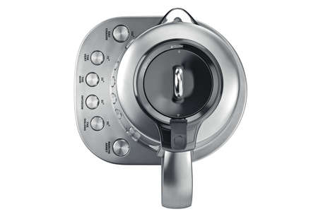 electric tea kettle: Electric kettle on aluminum stand with chrome buttons, top view. 3D graphic