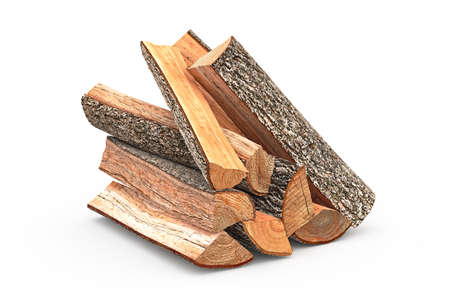 woodpile: Firewood stack dry chopped, close view, objects. 3D graphic Stock Photo