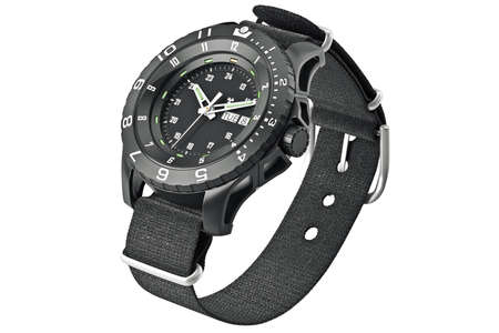 military watch: Wrist watch military with textile strap. 3D graphic