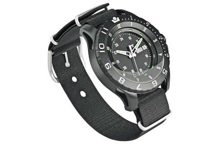 military watch: Watch military black textile accessory bracelet on wrist. 3D graphic