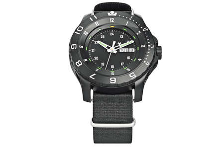 military watch: Black watch military, top view. 3D graphic