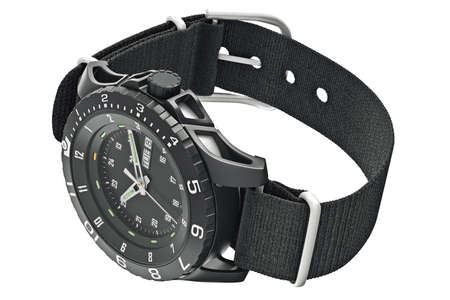 military watch: Watch military black with chrome elements. 3D graphic Stock Photo