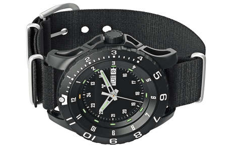 military watch: Modern military watch on wrist with metal arrow. 3D graphic Stock Photo