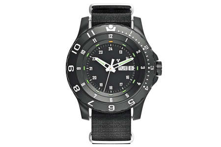 military watch: Military watch black, front view. 3D graphic
