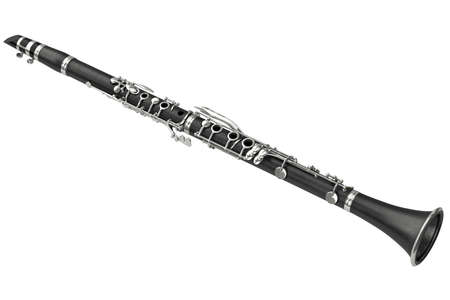woodwind: Clarinet classical woodwind musical instrument. 3D graphic Stock Photo