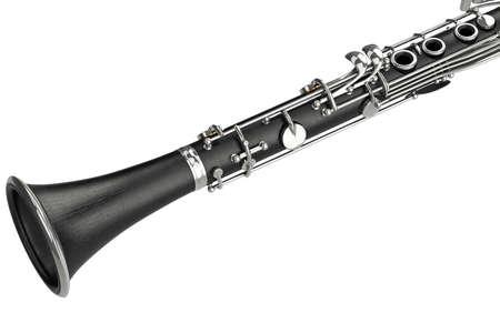 bugle: Clarinet black classical music equipment, close view. 3D graphic
