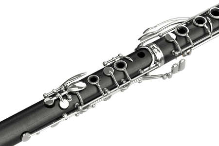 clarinet: Clarinet black wooden classical with chrome valve, close view. 3D graphic