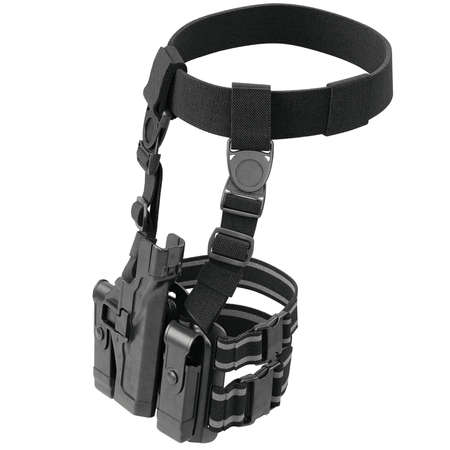 fastening: Holster army black for gun on belt with fastening. 3D graphic