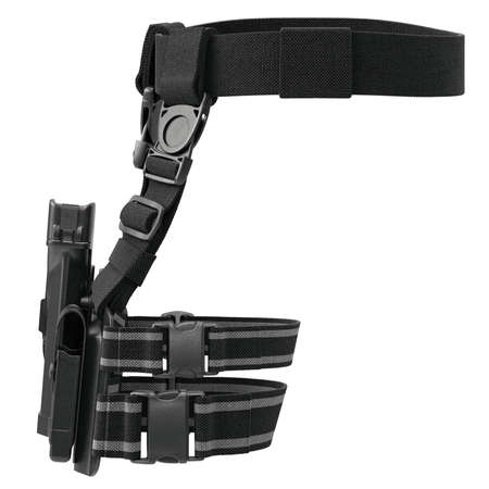 holster: Holster army plastic on belt for gun, front view. 3D graphic