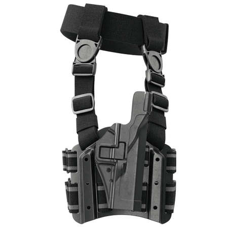 holster: Holster plastic protection for handgun on belt, side view. 3D graphic