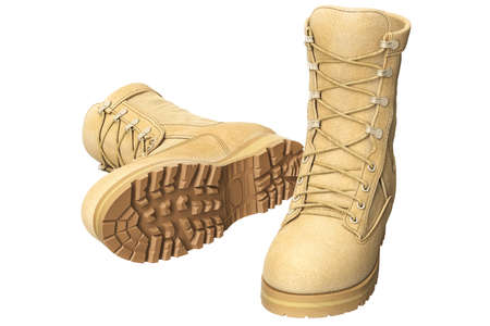 Military boots with brown tread soldier uniform. 3D graphic Stock Photo