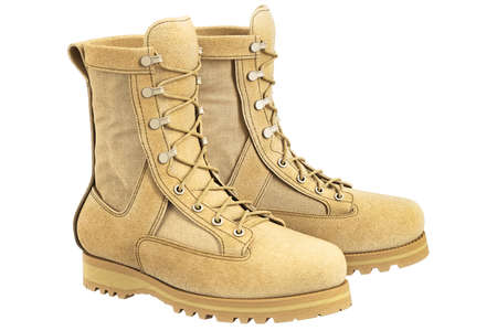 military boots: Military boots beige suede with bootlace. 3D graphic