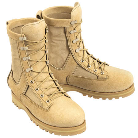 military boots: Military boots with laces soldier uniform. 3D graphic