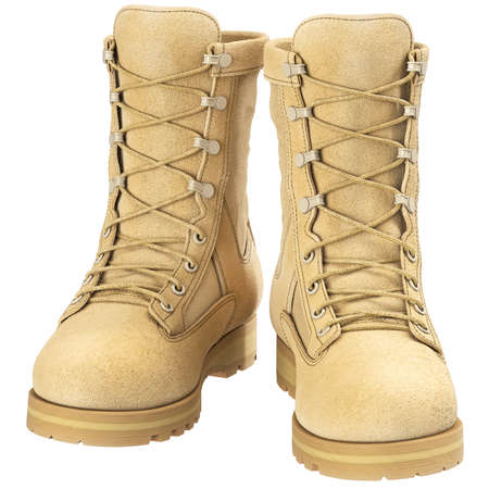 Military boots soldier military camouflage, front view. 3D graphic