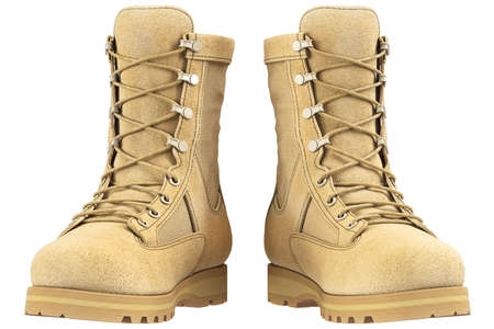 military boots: Military boots suede, front view. 3D graphic
