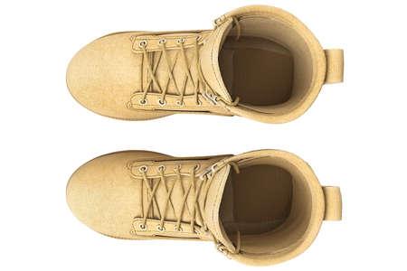 zapatos de seguridad: botas militares con cordón marrón, vista desde arriba. gráfico 3D