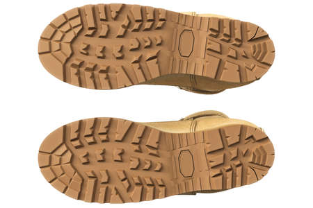 tread: Military boots suede with brown tread, bottom view. 3D graphic