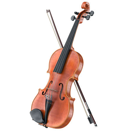 stringed: Violin stringed classical musical equipment. 3D graphic