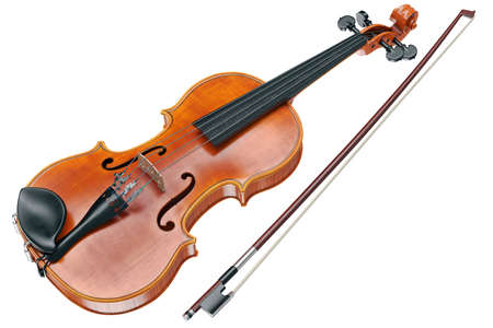 fiddles: Viola wooden classical musical equipment. 3D graphic Stock Photo