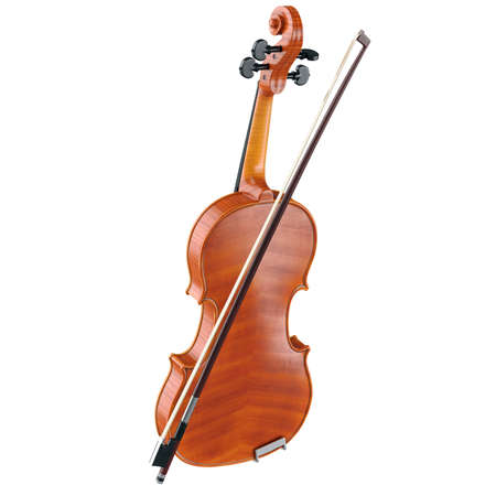 caoba: Violin viola wooden classical with bow. 3D graphic