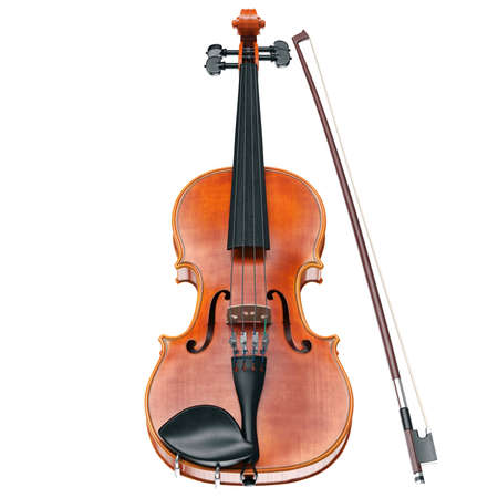 stringed: Violin classical stringed musical instrument, front view. 3D graphic