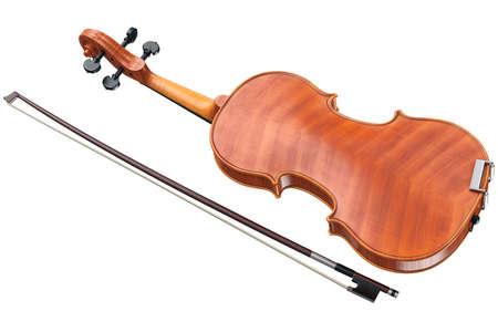 caoba: Violín de madera clásico con arco, vista posterior. Gráfico 3D Foto de archivo