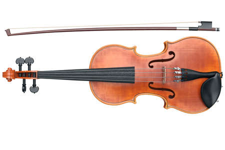 Violin classical musical equipment, front view. 3D graphic Standard-Bild