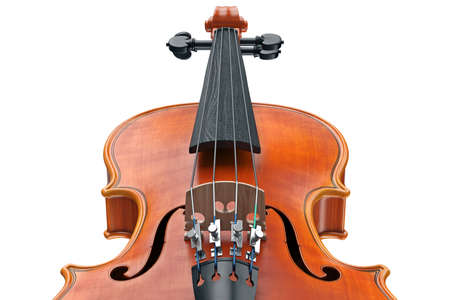Violin classical wooden instrument, close view. 3D graphic