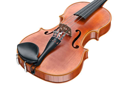 Viola wooden musical equipment, close view. 3D graphic Stock Photo