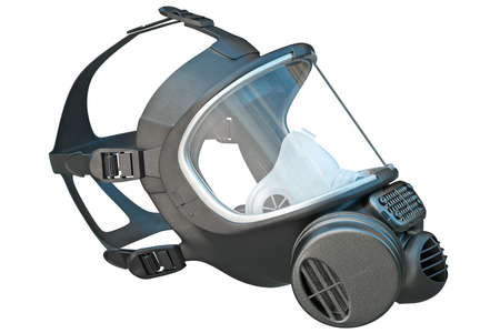 apparatus: Safety pro mask apparatus for protection. 3D graphic Stock Photo